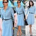 Punto de Impresión Camisa de Vestir Vestidos de Manga Tres Cuartos Azul de Trabajo Vestido OL Señora de la Oficina A-line Formal Vestido de Las Mujeres de la Alta Calidad S-XXL