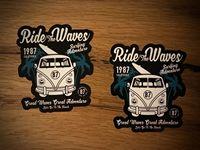 2x Surf Sticker Bulli Ônibus Ajuste Menino Praia Verão Surf Hang Loose Sol #279