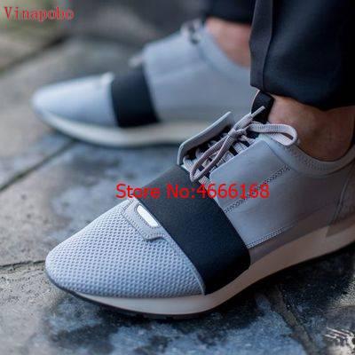 ชื่อยี่ห้อใหม่มาถึงชายหญิงรองเท้าสบายๆรองเท้าแบนแฟชั่น Patchwork ตาข่ายหนัง Low Cut Lace   up เทรนเนอร์ Runner รองเท้ากลางแจ้ง-ใน รองเท้าลำลองของผู้ชาย จาก รองเท้า บน   3