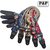 P P S142 Acoustic Electric Guitar Strap Leather Ends Red Black Music Instrument Accessories Green Guitar