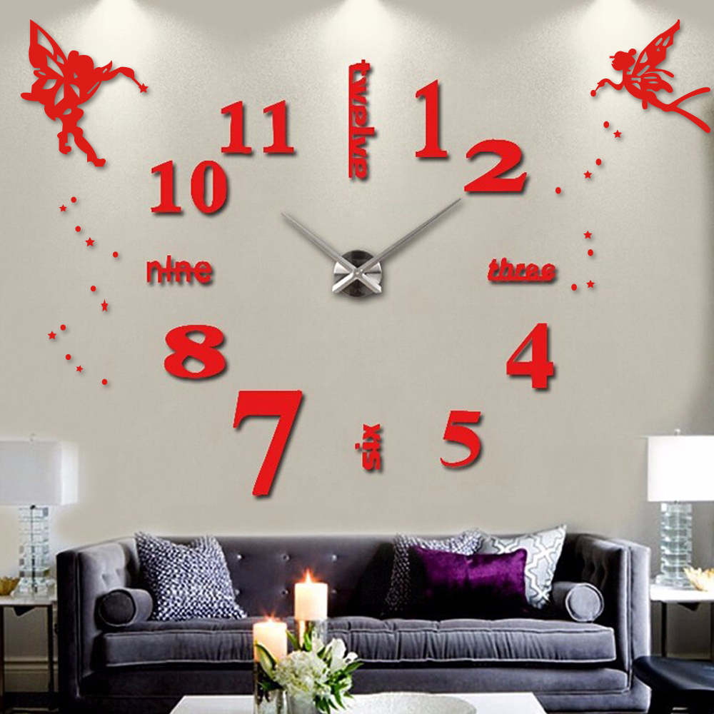 Comfortable Angel Wings Princess Arabic Digital Wall Clock Large Self Adhesive Wallclock Diy Vintage Home Wall Clocks From Home Garden On Angel Wings Princess Arabic Digital Wall Clock Large Self