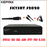 SKYSAT S2020 2pcs Twin Tuner IKS SKS ACM IPTV H.265 Satellite Receiver optional wifi adatper for south america