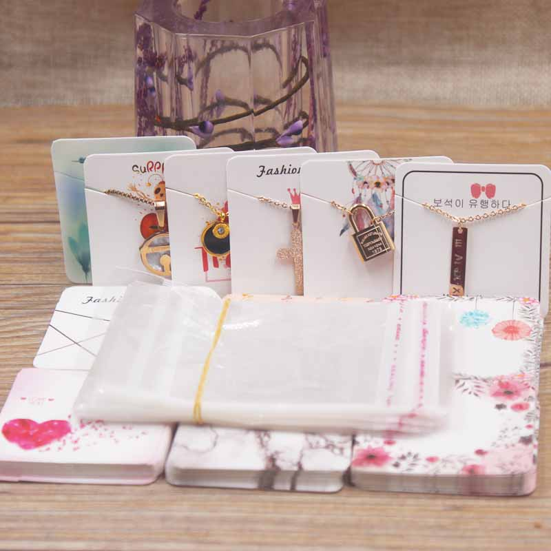 24designs Fashion Jewelry Display Necklace Charms Package Card Heart/ Flower /marble Style Pendant Displaycard100pc+100oppbag