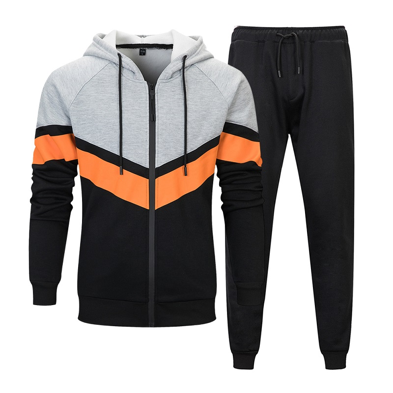 Autumn Winter Men Hoodies Set 2019 New Fashion Male Casual Solid Tracksuit Zipper Outwear 2 Pieces Hooded Jacket+Pants Sets Men