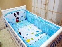 Promotion! 6PCS Cartoon  Baby Girl Bedding 100%Cotton Printed Crib Bedding Set Cot Set (bumpers+sheet+pillow cover)