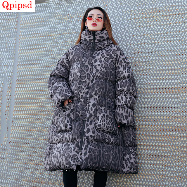 d9e703073eb Plus size winter down jacket women loose cotton-padded parkas female long  hooded warm down jacket coat ladies leopard print coat