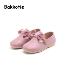 Bakkotie 2017 New Arrival Fashion Summer Baby Leisure Flats Square Toe Brand Sweet Girl Shoe Pink Sandals Soft Sole Beige Bow