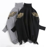 New Autumn Winter Runway Black Gray Embroidered Bead Ponchos And Capes Pullovers Knitted Wool Sweater Women