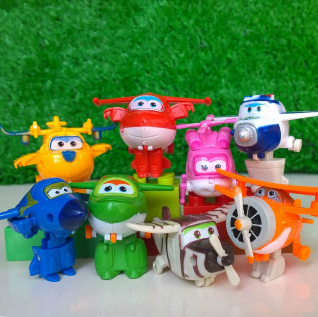 8 adet/takım MINI Anime süper kanatları modeli Mini uçaklar oyuncak dönüşüm uçak Robot aksiyon figürleri superwings oyuncaklar çocuklar için