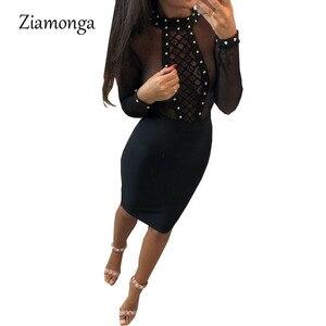 Ziamonga Сетчатое платье, Бандажное платье, Бандажное платье, черное сексуальное вечернее женское платье, облегающее Клубное платье с длинным р...