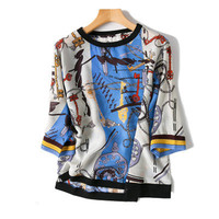 women spring summer fashion contrast color printed silk t shirt half sleeve pullover tees tops Oneck blue one&over size