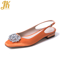 JK Brand Women Pumps Satin Summer Buckle Slingback Shoes Handmade Women Square Heels Low Crystal Silk Fabric Footwear Women 2019