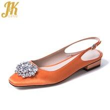 JK Brand Women Pumps Satin Summer Buckle Slingback Shoes Handmade Women Square Heels Low Crystal Silk Fabric Footwear Women 2019