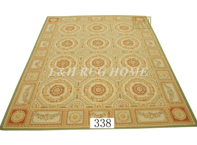 US $3689.0 |Spedizione gratuita 12\'x15\' Aubusson tappeti di lana tappeti di  design di colore rosso, francese Aubusson Tappeto, tessuti a mano tappeto,  ...