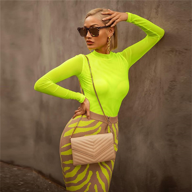 Neon Green Mesh Bodysuit Women Sexy See Through Long Sleeve O Neck Jumpsuits 2019 Fashion Breathable Skinny Bottoming Bodysuits