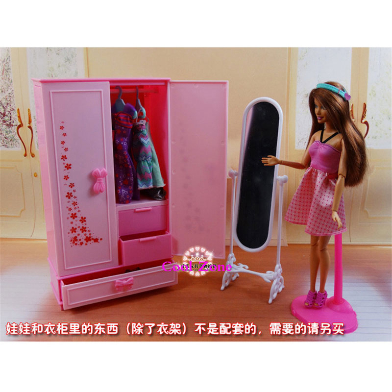 MiniatureFurniture Wardrobe for Barbie Doll House Best Gift Toys for Girl Free Shipping free shipping christmas gift girl birthday gift toys 22 joints original doll brand dolls geninue doll accessories for barbie