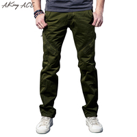 2017 Mens Vintage Army Green Cargo Casual Pants Military Cargo Pants For Men Zipper Knee Baggy