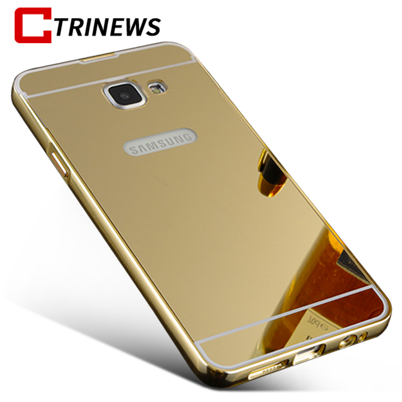 Phone Case For Samsung Galaxy A3 A5 A7 2017 Luxury Plating Metal Aluminum Bumper Cover For Samsung S7 S7 Edge Mirror Case Couqe