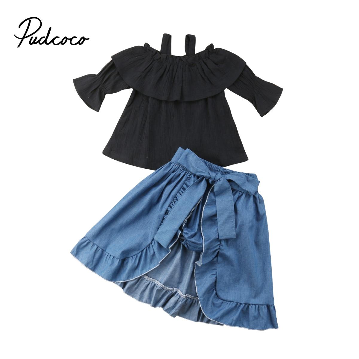 3Pcs Cute Kids Toddler Little Girl Summer Off Shoulder Blouse Tops+Denim Shorts+Ruffle Skirt self belted ruffle waist pinstripe skirt