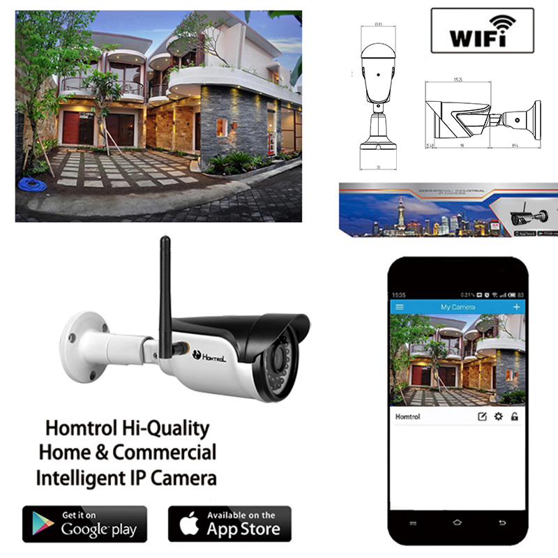 ФОТО 720P WIFI IP Camera Waterproof HD Network 2MP Lens wifi camera day nignt vision In/Outdoor ip camera with free power adapter