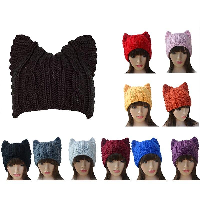 A004 Cute Cat Ear Meow Kitty Woman Wool Hand Knit Cs