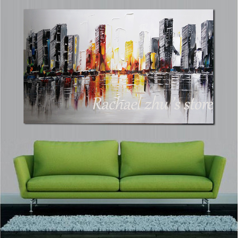 Купить с кэшбэком Large Hand Painted Abstract Art Cityscape Oil Painting On Canvas Building Palette Knife Wall Pictures For Living Room Home Decor