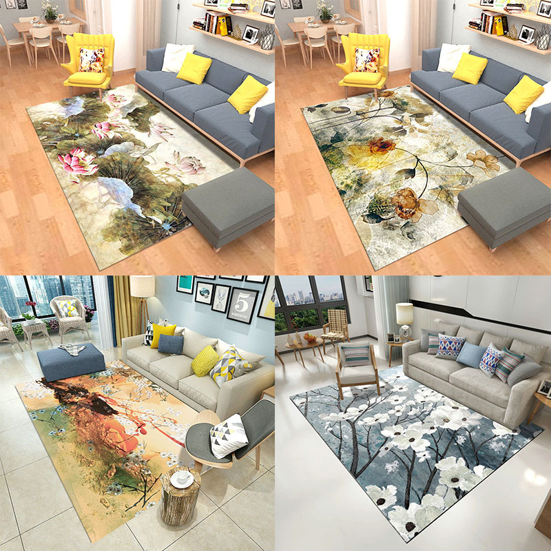Ink abstract carpet living room Floor mat Hotel model rug 3D flower Leaves door mat velvet non slip bedroom carpet customize in Carpet from Home Garden