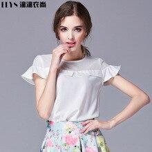 Li Liเสื้อผ้าเป็นหญิงแฟชั่นเสื้อยืดA Moiสะบัดแขนสั้นเสื้อยืดเย็บตาข่ายบางเสื้อ