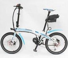 Latest Mini Electric Bicycle MOSSO 20-F1 48V 350W Blue Foldable Mid-Drive 8FUN Motor eBike+48V 12AH Li-ion Seatpost Battery