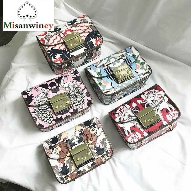 24Color Deluxe Upgrade Famous Italy Brand Women Clutch Lolita Style Graffiti Print Shoulder Bag Chain Lock Messegner Bag Bacchus figure print chain bag