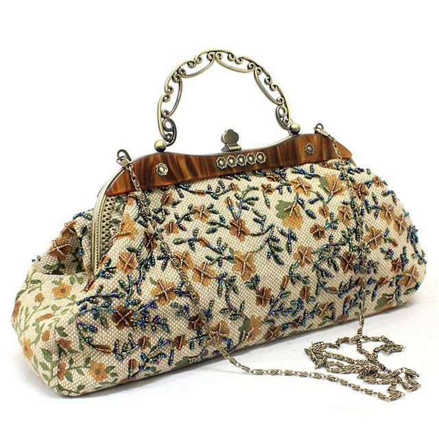 Women's Multicolor Flowers Decorated Hasp Handbag