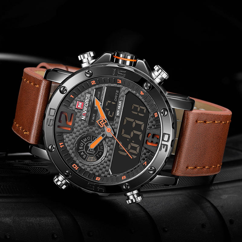 Image 4 - NAVIFORCE Mens Watches To Luxury Brand Men Leather Sports Watches Men's Quartz LED Digital Clock Waterproof Military Wrist Watch-in Quartz Watches from Watches
