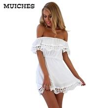 MUICHES женская Мода Элегантные Старинные сладкий кружева белое Платье стильный сексуальный слэш шеи вскользь тонкий пляж Лето Сарафан vestidos
