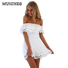 MUICHES Fashion women Elegant Vintage sweet lace white Dress stylish sexy slash neck casual slim beach Summer Sundress vestidos