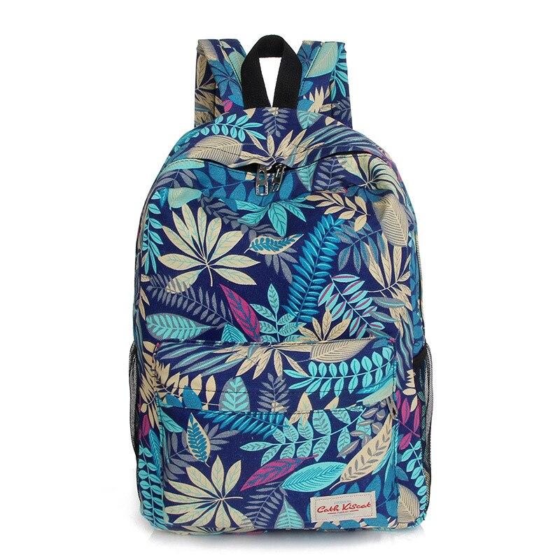 2016 women backpacks printing leaves backpack mochila rucksack fashion canvas bags retro casual school bag travel bags Q5