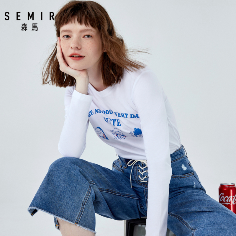 SEMIR Long sleeve T shirt women printed 2019 autumn round neck cotton chic base coat strange girl t shirt cotton tops in T Shirts from Women 39 s Clothing