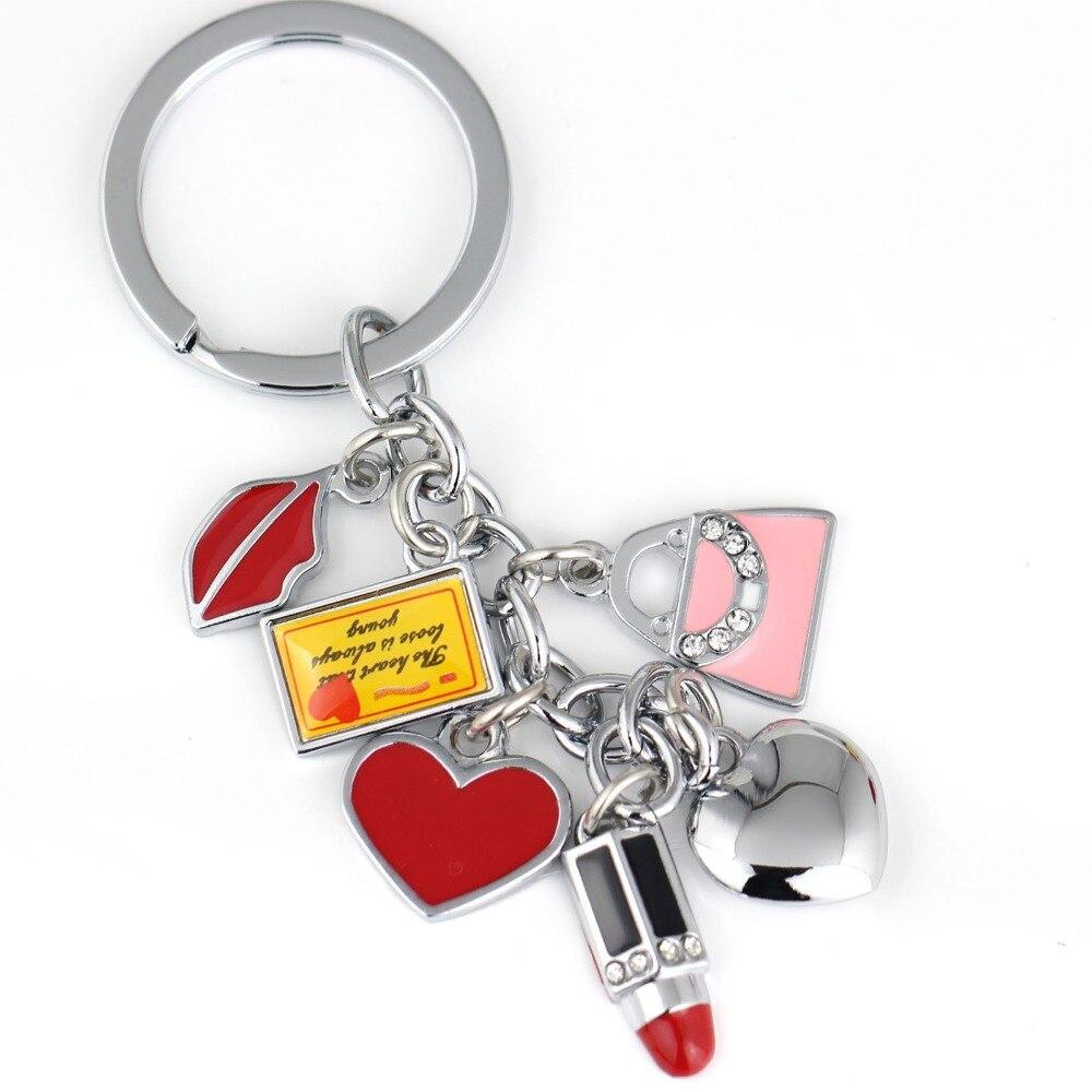 Сердце губы брелок милый брелок для женщин помада брелок держатель творческий chaveiro portachiavi llaveros сумка Шарм