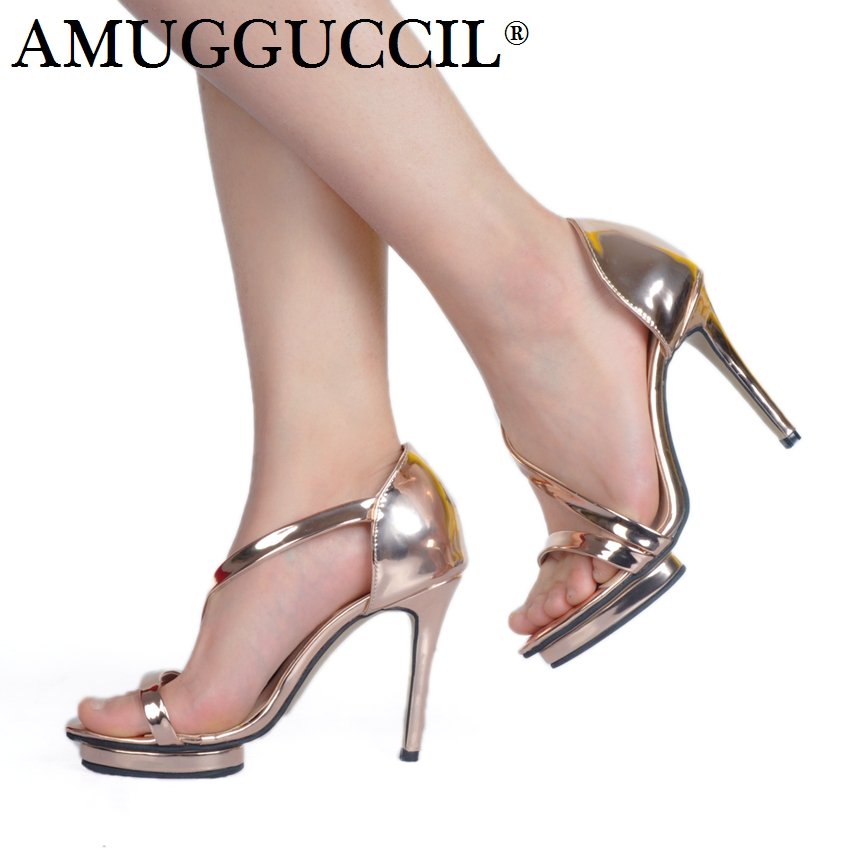 2018 New Arrival Plus Big Size 34-52 Gold Fashion Sexy High Heel Platform Girl Female Ladies Shoes Summer Women Sandals L954 asumer 2018 fashion summer ladies shoes new arrival pink blue square heel sweet women sandals big size 34 43