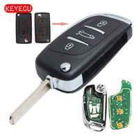 Keyecu 3pcs/lot DS Modified Folding Remote Key Fob 3 Button 433MHZ ID46 for Peugeot 307 0536 Model 2001 2005 HU83/VA2 Blade