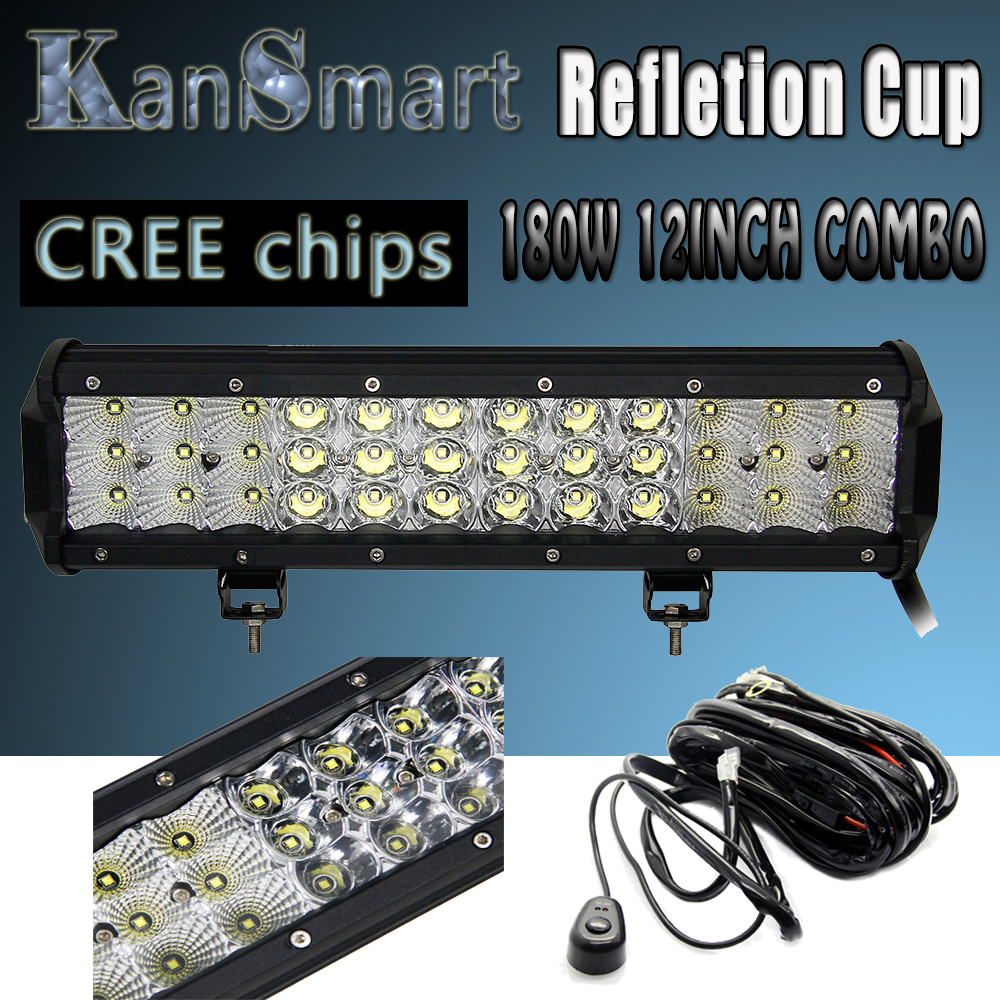 ФОТО KanSmart New Arrival Triplex Row 180W 12Inch Cree Chips Refletion Cup Plus Work Lights Combo LED Light Bar Off-road Driving Lamp