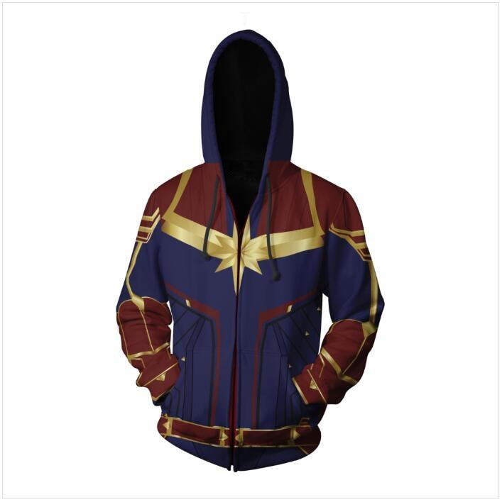 Image 3 - 3D Printed Captain Marvel Carol Danvers Ms Marvel Costumes Hoodies Sweatshirts Tracksuit Casual zipper hooded Jacket clothing-in Hoodies & Sweatshirts from Men's Clothing