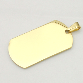 Fashion Gold Plated Stainless Steel Military Dog tag Pendants