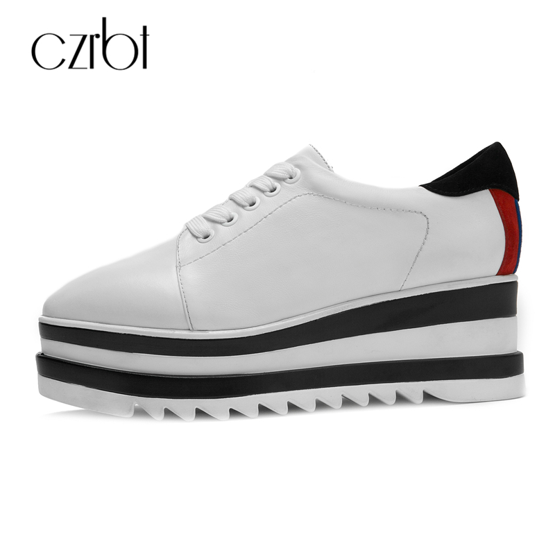 CZRBT Top Selling Genuine Leather Flat Platform Shoes Women Spring Autumn High Quality Lace Up Flat Shoes Women Casual Shoes top quality genuine leather oxfords for women gold sliver mixed colors female british style spring autumn casual flat shoes