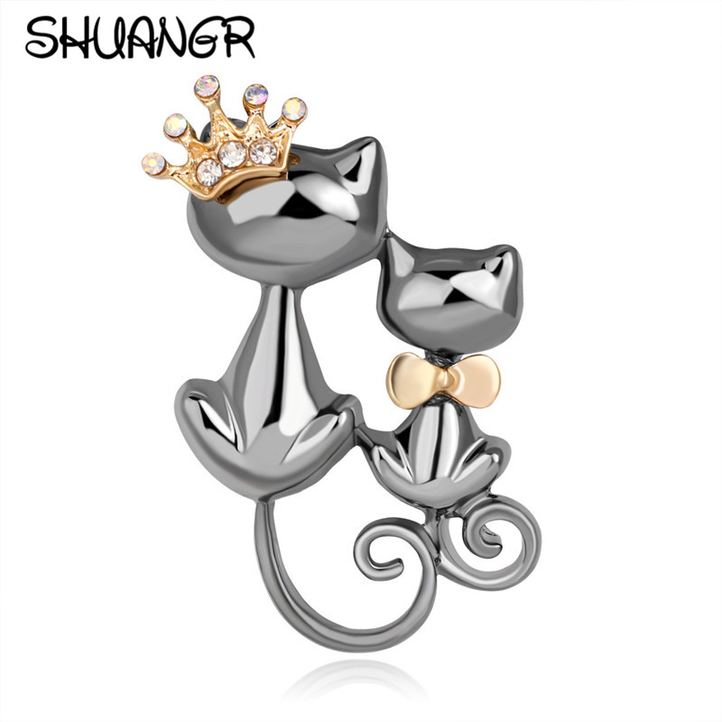 SHUANGR Black Mother Daughter Cats Brooches Crystal Crown Queen Corsages Hijab Pin Women Hats Scarf Suit Brooch Clothes Buckles