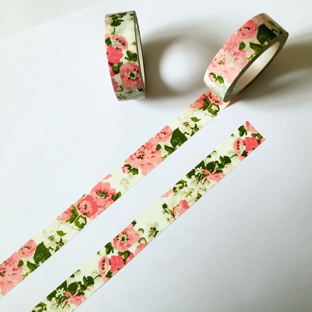 Beautiful 15mm*10m High Quality  Washi Tape/Big Pink Peony And Little Pink Rose And Purple Design Masking  Japan  Washi Tape
