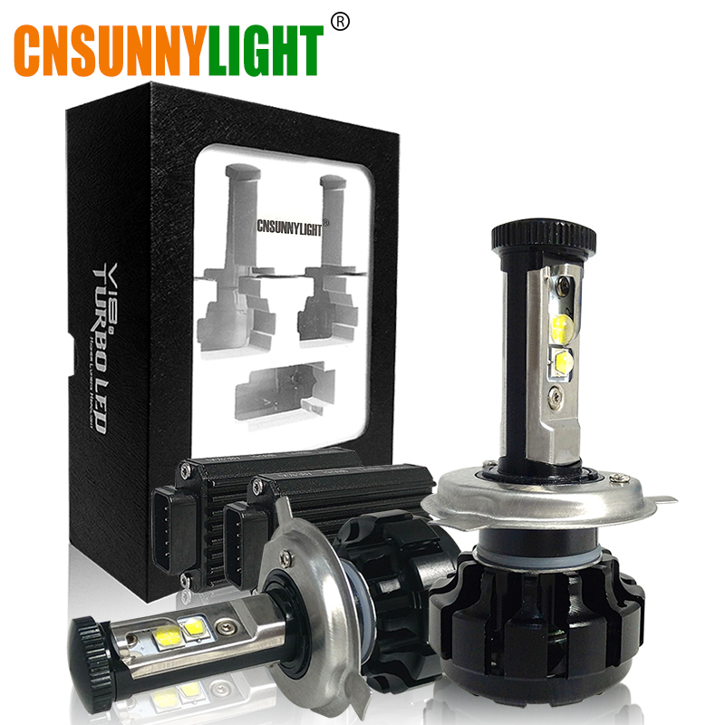 CNSUNNYLIGHT Super Bright Car LED <font><b>Headlight</b></font> Kit H4 H13 9007 Hi/Lo H7 H11 9005 9006 w/ XHP50 Chips Replacement Bulbs 3000K 4300K