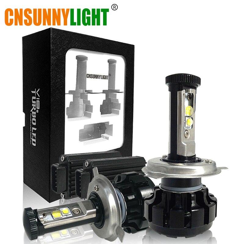CNSUNNYLIGHT Super Bright Car <font><b>LED</b></font> Headlight Kit H4 H13 9007 Hi/Lo H7 H11 9005 9006 w/ XHP50 Chips Replacement Bulbs 3000K 4300K