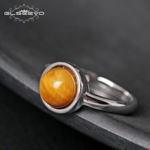 GLSEEVO Real Pure S925 Sterling Silver Fashion Tiger Eye Stone Adjustable Ring Female Open Ring For Women Man Jewellery GR0139(China)