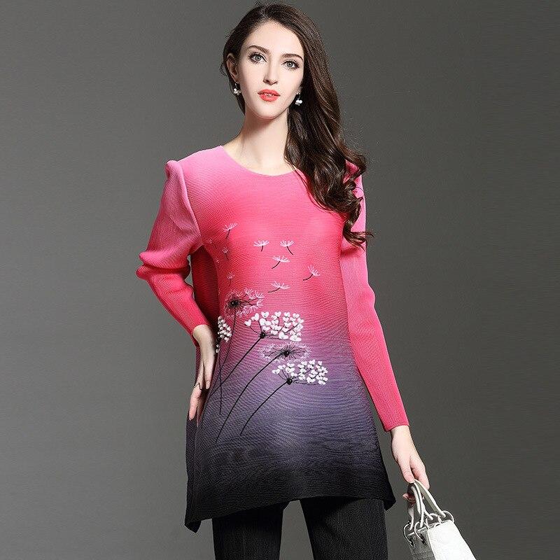 aliexpress Women Fall Ol Size Floral Temperament Loose T-shirt Folds The New A Word Ladies T-shirt