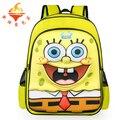 Nueva llegada de dibujos animados bob esponja patrón mochilas para niños bookbag mochila casual bolsa de viaje de doble hombro fresco de personajes de la película